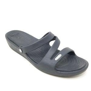 Crocs Strappy Sandals Black 8 Low Wedge